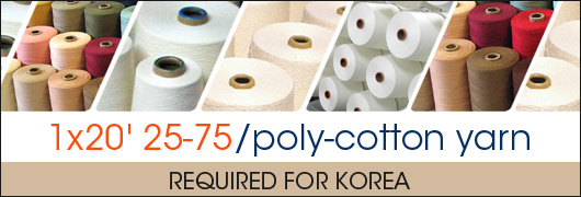 1x20 25-75/poly-cotton yarn required for Korea