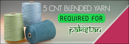 5 CNT Blended yarn required for Pakistan