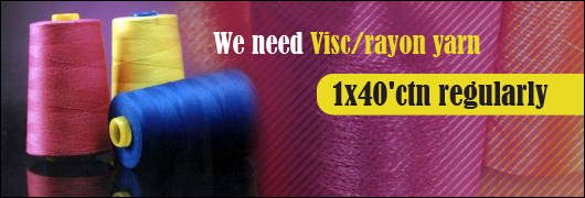 We need Visc/ rayon yarn 1x40 ctn regularly