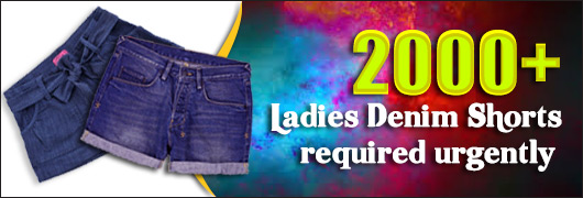 2000 Ladies Denim Shorts required urgently