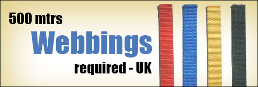500 mtrs Webbings required - UK