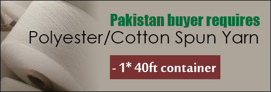 Pakistan buyer requires Polyester/Cotton Spun Yarn - 1x40ft container