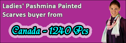 Ladies Pashmina Painted Scarves buyer from Canada- 1240 Pcs