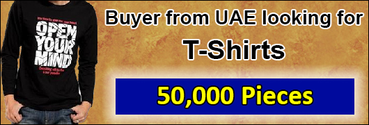 Buyer from UAE looking for 50,000 tshirts