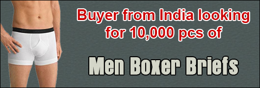 Buyer from India looking for 10,000 pcs of Men Boxer Briefs