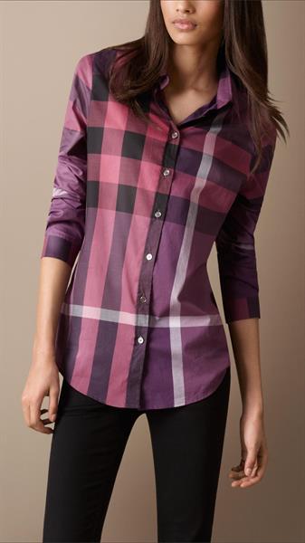 purple check cotton shirt for ladies