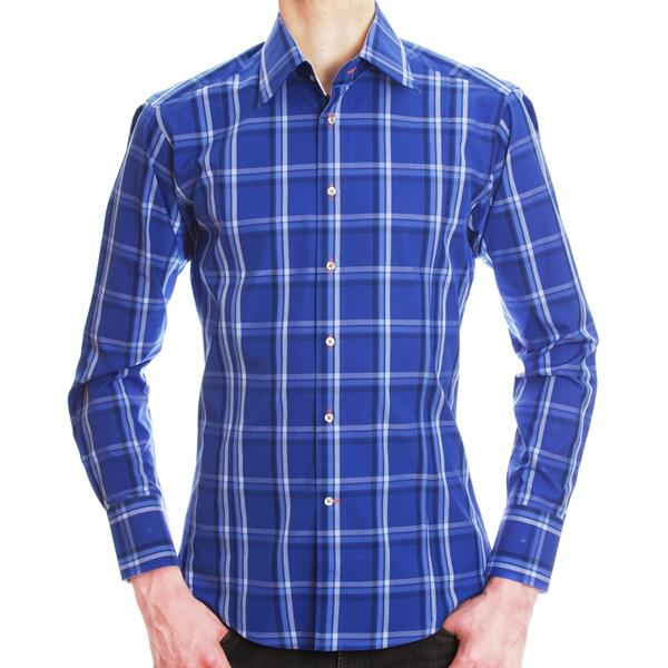 men blue and white checkered shirt