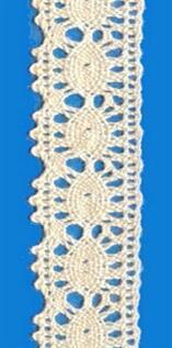 Scalloped cotton lace trimming, 2 cm, 100% Cotton