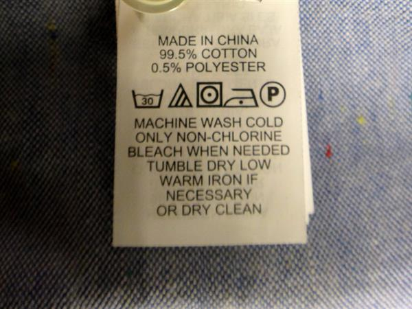 wash care label