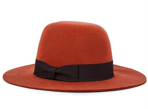 women orange brim hat