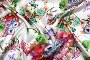 Digital Printed Fabric:90-150 gsm, 100% Silk, Dyed, Satin