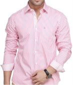 mens pink full sleeves cotton shirt