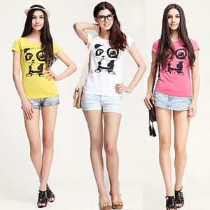 ladies round neck printed t-shirts