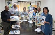 Textiles minister Santosh Kumar Gangwar launching Source India brochure. Courtesy: SRTEPC