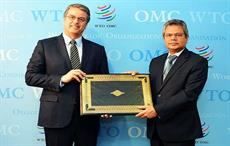 Bangladesh's WTO ambassador Shameem Ahsan (right) submitting his country's TFA instrument of acceptance to WTO director-general Roberto Azevêdo. Courtesy: WTO
