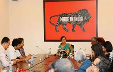 Commerce and industry minister Nirmala Sitharaman briefing the media on the Cabinet decision. Courtesy: PIB