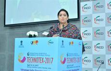 Textiles minister Smriti Irani addressing a curtain raiser of Technotex 2017. Courtesy: Ficci