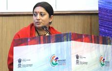 Union textiles minister Smriti Irani delivering the inaugural address at the first ever North East Investors' Summit, at Shillong on January 29, 2017. Courtesy: PIB