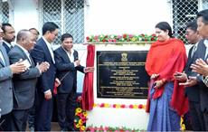 Union minister for textiles Smriti Irani accompanied by the Chief Minister of Meghalaya Dr Mukul Sangma and the minister of state for home affairs Kiren Rijiju inaugurating the Apparel & Garment Makin