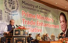 Prime Minister Nawaz Sharif announcing PM's Trade Enhancement Initiative at PM Office in Islamabad. Courtesy: PID
