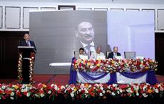 Dilip Gaur, MD of Grasim Industries, speaking at the technical symposium in Dhaka; Courtesy: Birla Cellulose