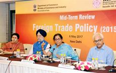 Minister of state for commerce and industry Nirmala Sitharaman interacting with the media on mid-term review of Foreign Trade Policy 2015-2020, in New Delhi. Courtesy: PIB