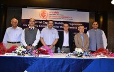 Ajit B Chavan, secretary, textiles committee, Subrata Gupta, joint secretary, ministry of textiles and Kei Funaki, ASEAN and South Asia regional manager, overseas coordination department, QTEC at the