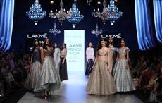 Models posing during Payal Singhal show at Lakmé Fashion Week