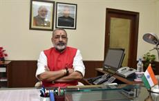 Giriraj Singh taking charge as minister of state (independent charge) for MSME on September 4. Courtesy: PIB