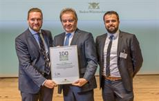 Franz Untersteller (centre) presenting the award to Marcus Mayer, MD of Mayer & Cie. (left), and Heiko Hämmerle, head of plant technology at Mayer & Cie. Courtesy: Stefan Longin