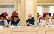 Union finance minister Arun Jaitley chairing the 22nd meeting of the GST Council. He is flanked by MoS for finance Shiv Pratap Shukla (right) and Hasmukh Adhia. Courtesy: PIB