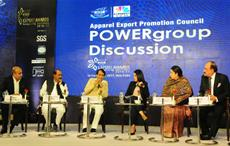 Union minister for commerce & industry Suresh Prabhu (3rd left) speaking at the AEPC event. Textiles minister Smriti Irani (2nd right), AEPC chairman Ashok Rajani (extreme right) are also seen. PIB