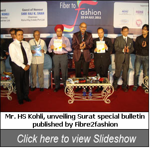 Mr. HS Kohli unveiling Surat special bulletin published by Fibre2fashion