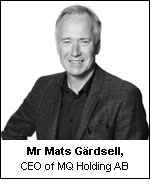 Mr Mats Gärdsell, CEO of MQ Holding AB