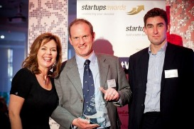 Mr. Caughey (C) accepting Startups Award