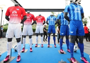 """Nike Thailand and Chonburi F.C. unveiled the new Chonburi club kits for  2013/2014 season in a unique colorway of blue and navy blue stripes along  with a """" ..."""