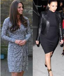 Kate Middleton (L), Kim Kardashian (R)