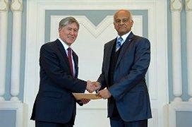Mr. Atambayev (L) with Mr. Mannan (R)