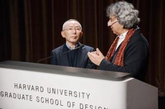 Tadashi Yanai with GSD Dean Mohsen Mostafavi/c: GSD