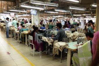 Garment factory with LEDs/credit: Achyuta Adhvarya