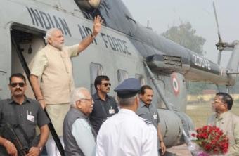Prime Minister Modi arriving at Varanasi/c: PIB