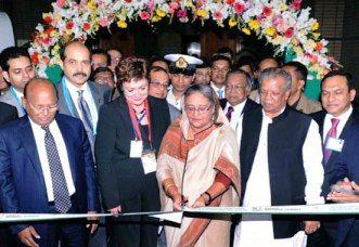 PM Hasina inaugurating the Dhaka Apparel Summit