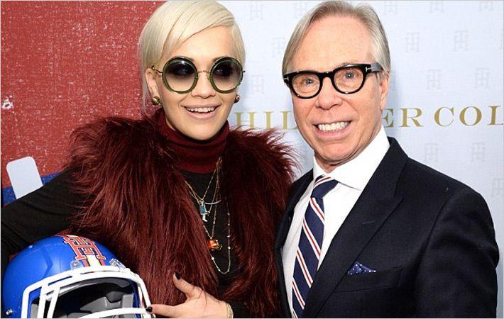 Rita Ora (L) and Tommy Hilfiger