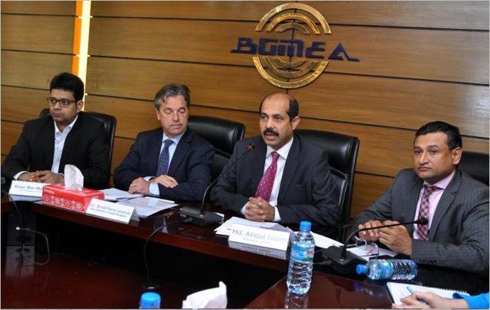 Mr. Laramee (2nd from Left) with BGMEA leaders/c: BGMEA
