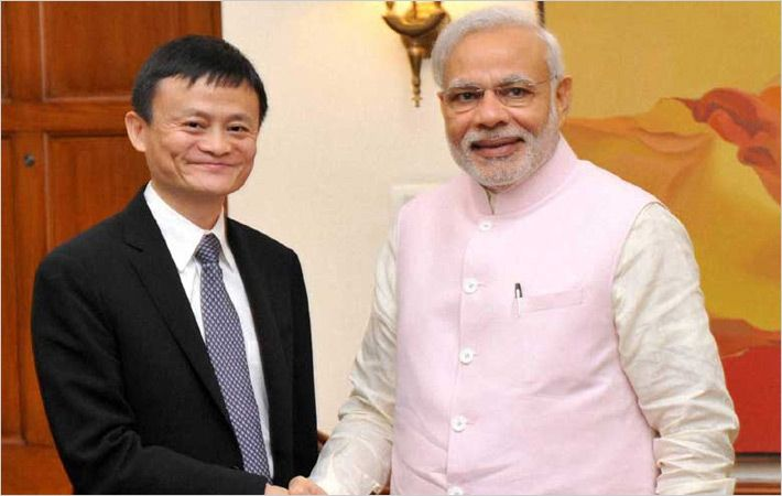 Mr. Jack Ma (Left) with Mr. Modi/PIB