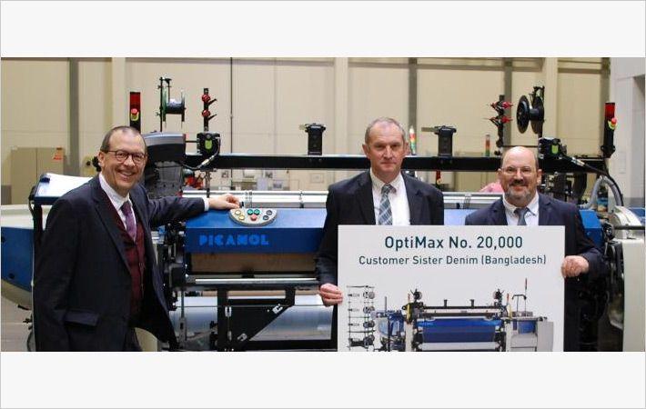 Picanol produces 20,000th OptiMax rapier weaving machine