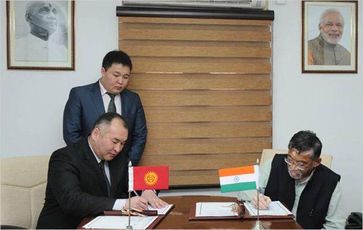 Turdubaev and Gangwar (R) signing MoU/c: PIB