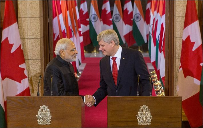 Narendra Modi (L) with Stephen Harper/C: pm.gc.ca