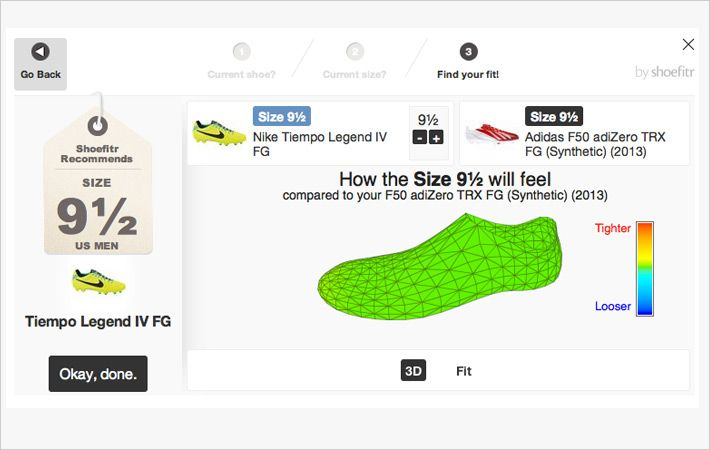 Screen shot of Shoefitr website
