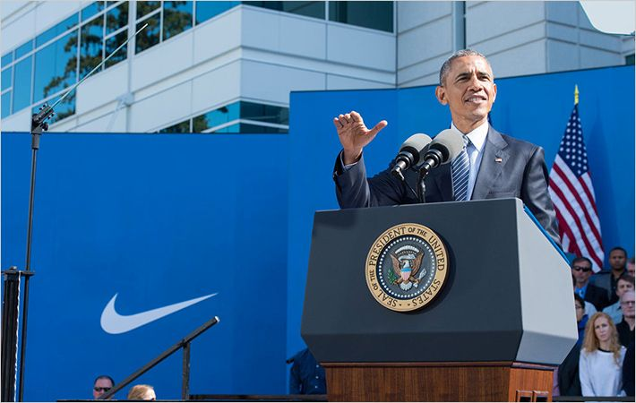 President Obama speaking at Nike headquarters/C: Nike